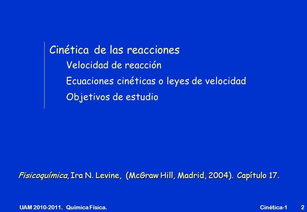UAM 2010-2011. Química Física. Cinética-12 Cinética de las reacciones Velocidad de reacción Ecuaciones cinéticas o leyes de velocidad Objetivos de est