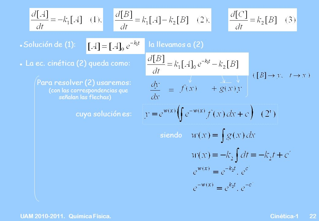 UAM 2010-2011. Química Física. Cinética-122 Solución de (1):la llevamos a (2) La ec. cinética (2) queda como: Para resolver (2) usaremos: (con las cor