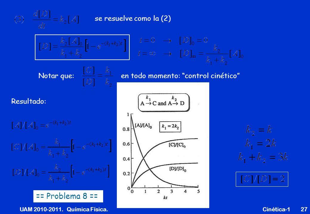 UAM 2010-2011. Química Física. Cinética-127 se resuelve como la (2) Notar que: en todo momento: control cinético Resultado: == Problema 8 ==