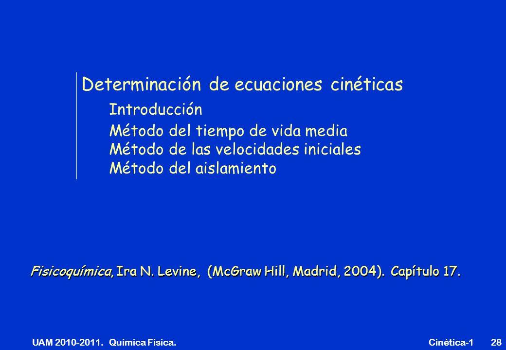 UAM 2010-2011. Química Física. Cinética-128 Determinación de ecuaciones cinéticas Introducción Método del tiempo de vida media Método de las velocidad