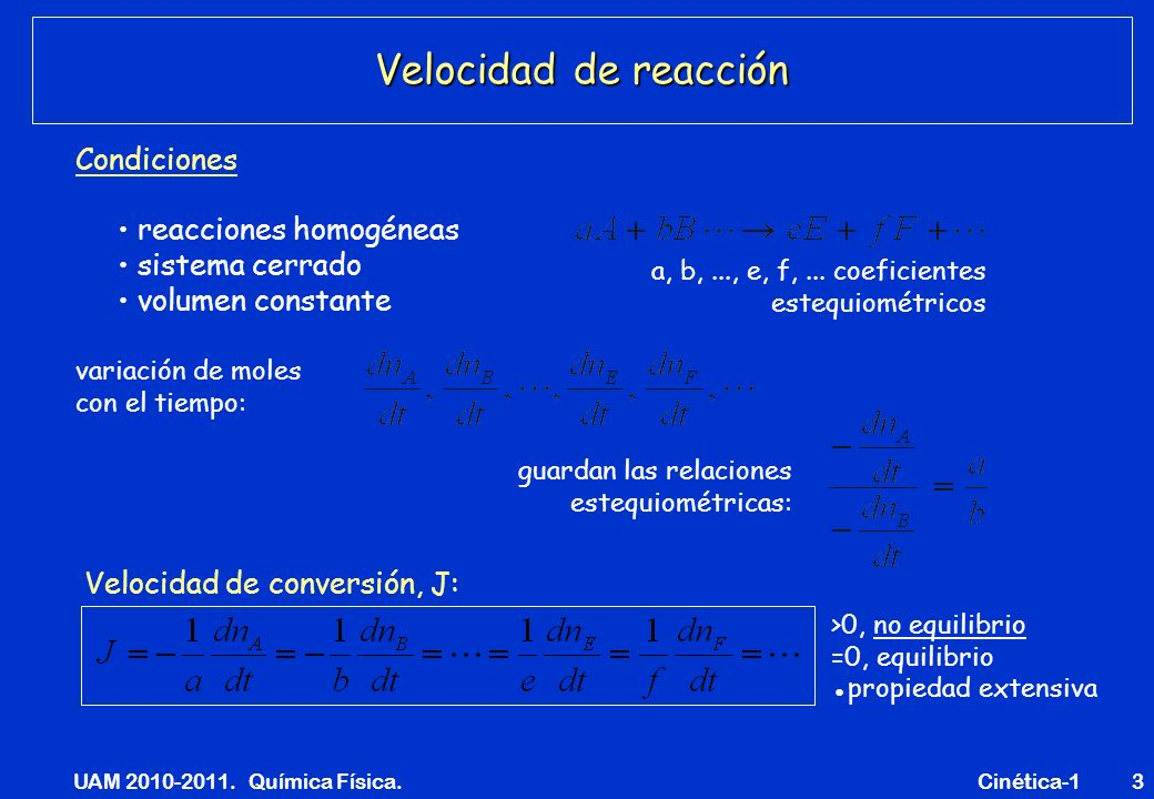 UAM 2010-2011. Química Física. Cinética-13 Velocidad de reacción reacciones homogéneas sistema cerrado volumen constante a, b,..., e, f,... coeficient