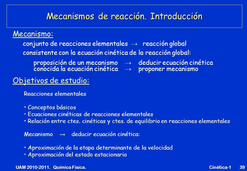 UAM 2010-2011. Química Física. Cinética-139 Mecanismos de reacción. Introducción Mecanismo: conjunto de reacciones elementales reacción global proposi