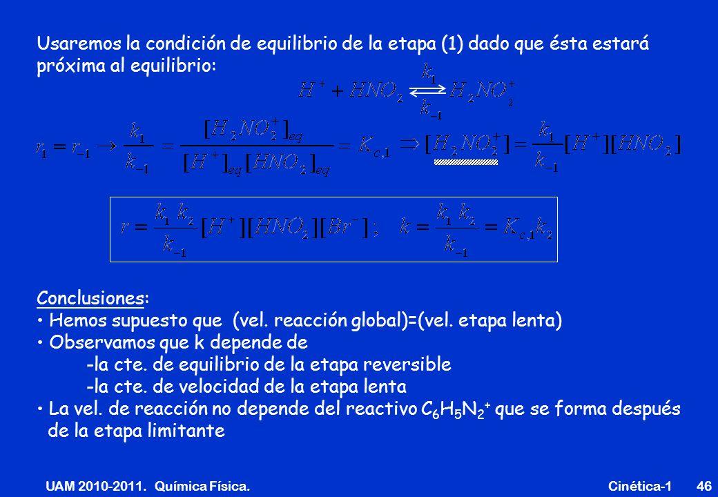 UAM 2010-2011. Química Física. Cinética-146 Usaremos la condición de equilibrio de la etapa (1) dado que ésta estará próxima al equilibrio: Conclusion
