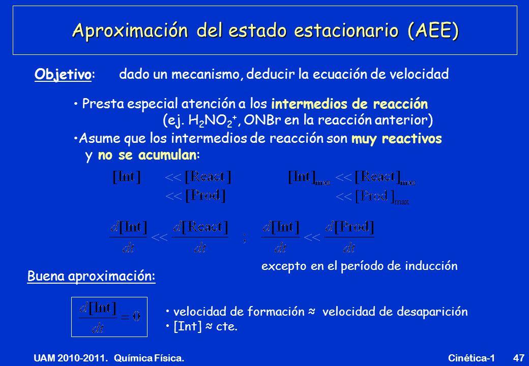 UAM 2010-2011. Química Física. Cinética-147 Aproximación del estado estacionario (AEE) Presta especial atención a los intermedios de reacción (ej. H 2
