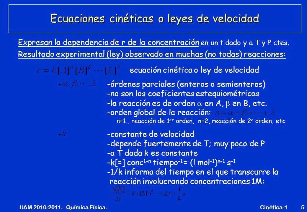 UAM 2010-2011. Química Física. Cinética-15 Ecuaciones cinéticas o leyes de velocidad Expresan la dependencia de r de la concentración en un t dado y a