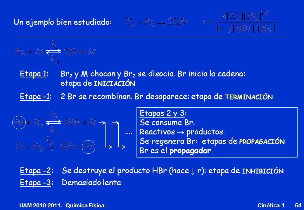 UAM 2010-2011. Química Física. Cinética-154 Un ejemplo bien estudiado: Etapa 1: Br 2 y M chocan y Br 2 se disocia. Br inicia la cadena: etapa de INICI