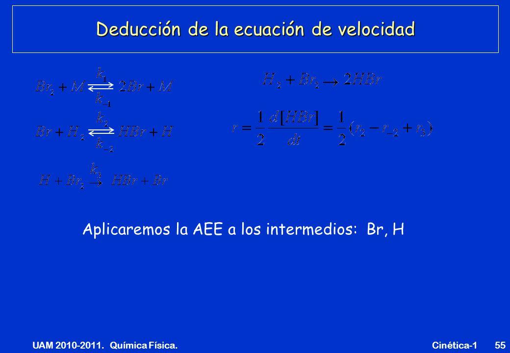 UAM 2010-2011. Química Física. Cinética-155 Deducción de la ecuación de velocidad Aplicaremos la AEE a los intermedios: Br, H