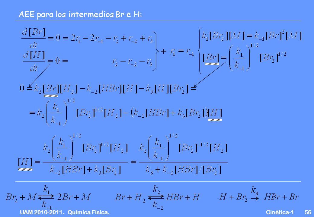 UAM 2010-2011. Química Física. Cinética-156 AEE para los intermedios Br e H: