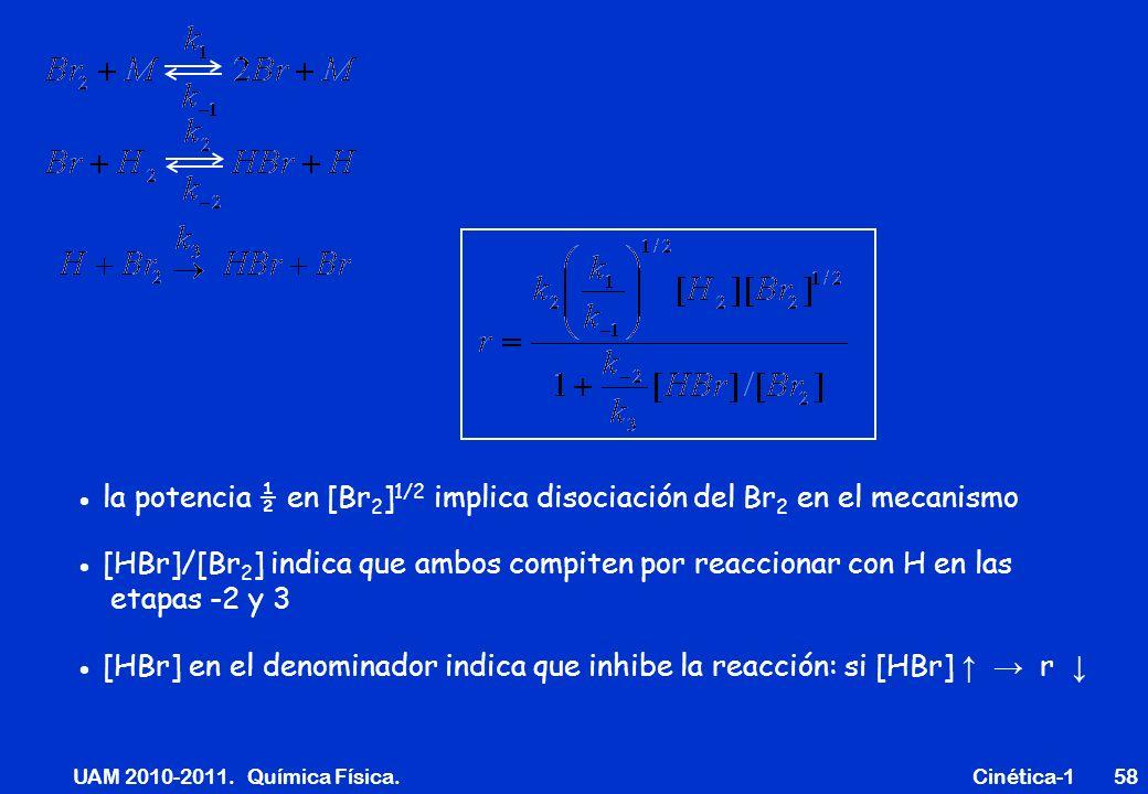 UAM 2010-2011. Química Física. Cinética-158 la potencia ½ en [Br 2 ] 1/2 implica disociación del Br 2 en el mecanismo [HBr]/[Br 2 ] indica que ambos c