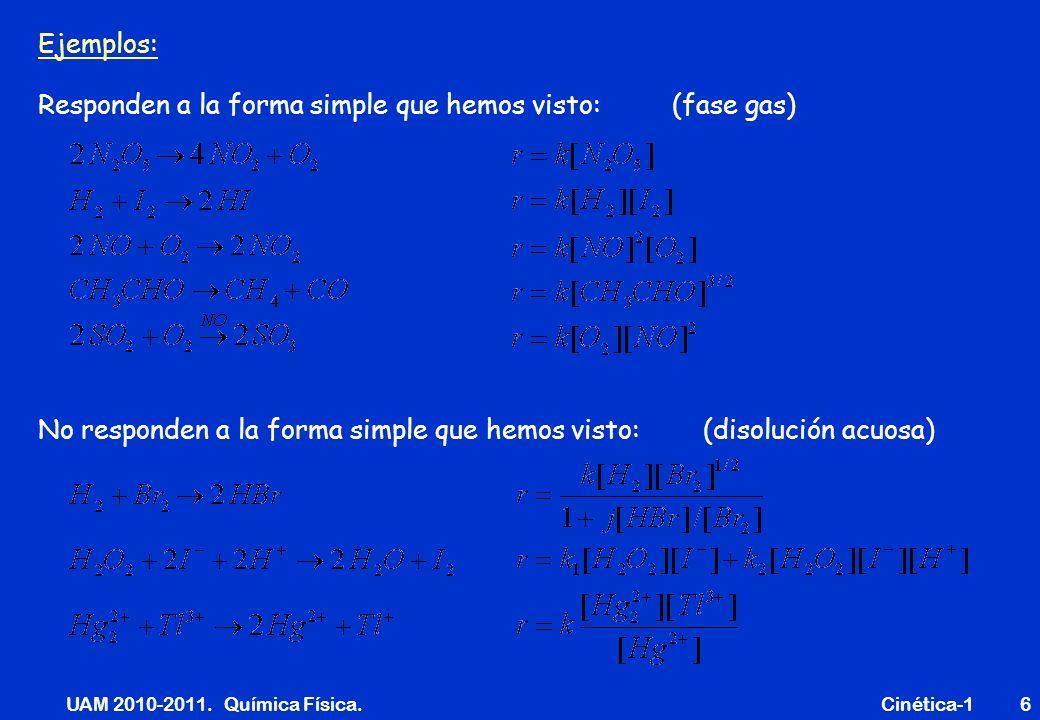 UAM 2010-2011. Química Física. Cinética-16 Ejemplos: Responden a la forma simple que hemos visto: (fase gas) No responden a la forma simple que hemos