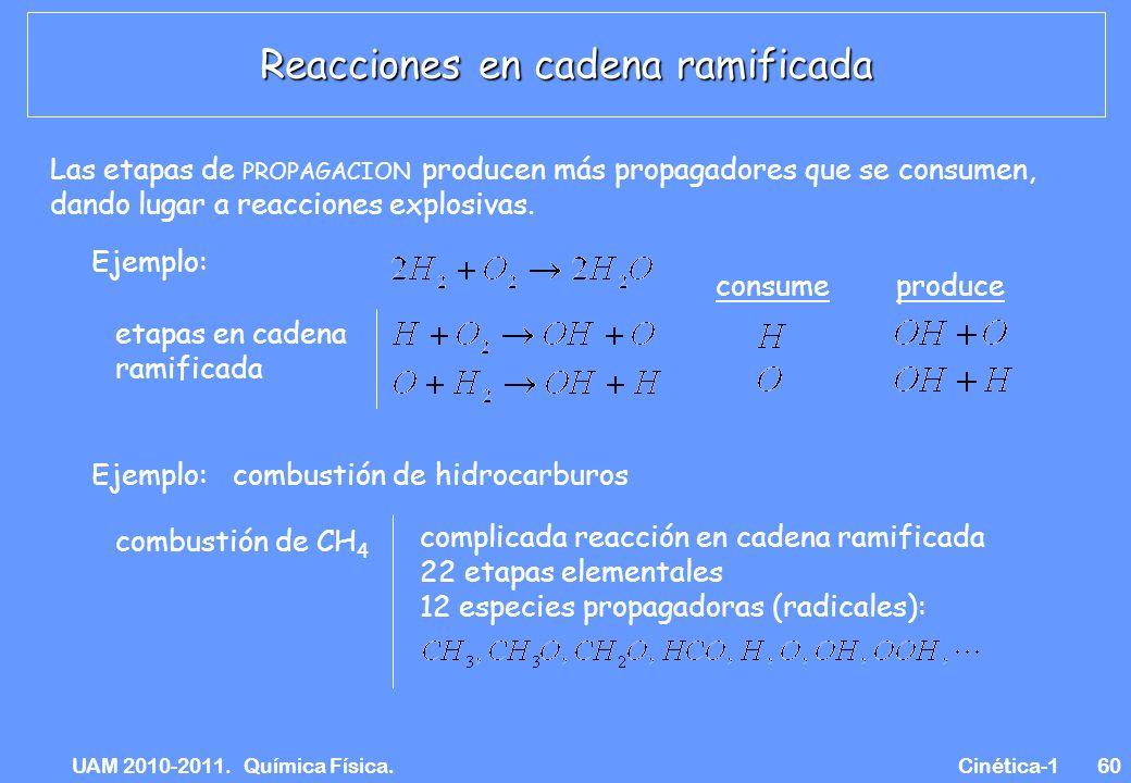 UAM 2010-2011. Química Física. Cinética-160 Las etapas de PROPAGACION producen más propagadores que se consumen, dando lugar a reacciones explosivas.
