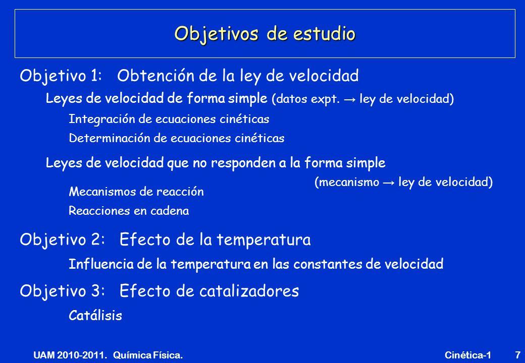 UAM 2010-2011. Química Física. Cinética-17 Objetivos de estudio Leyes de velocidad de forma simple (datos expt. ley de velocidad) Leyes de velocidad q