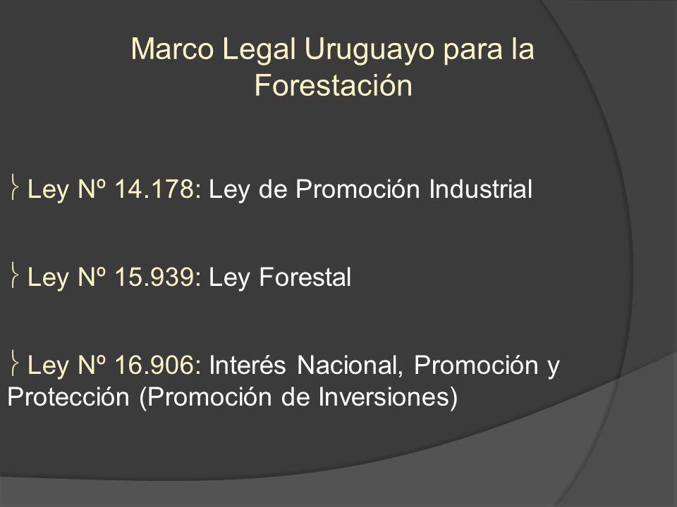 Marco Legal Uruguayo para la Forestación Ley Nº 14.178: Ley de Promoción Industrial Ley Nº 15.939: Ley Forestal Ley Nº 16.906: Interés Nacional, Promo