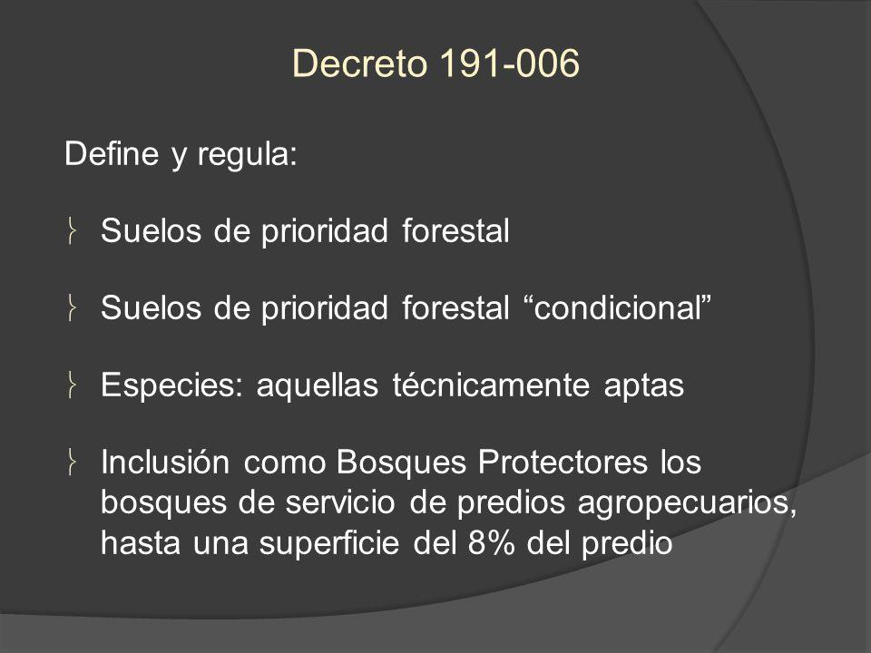 Define y regula: Suelos de prioridad forestal Suelos de prioridad forestal condicional Especies: aquellas técnicamente aptas Inclusión como Bosques Pr