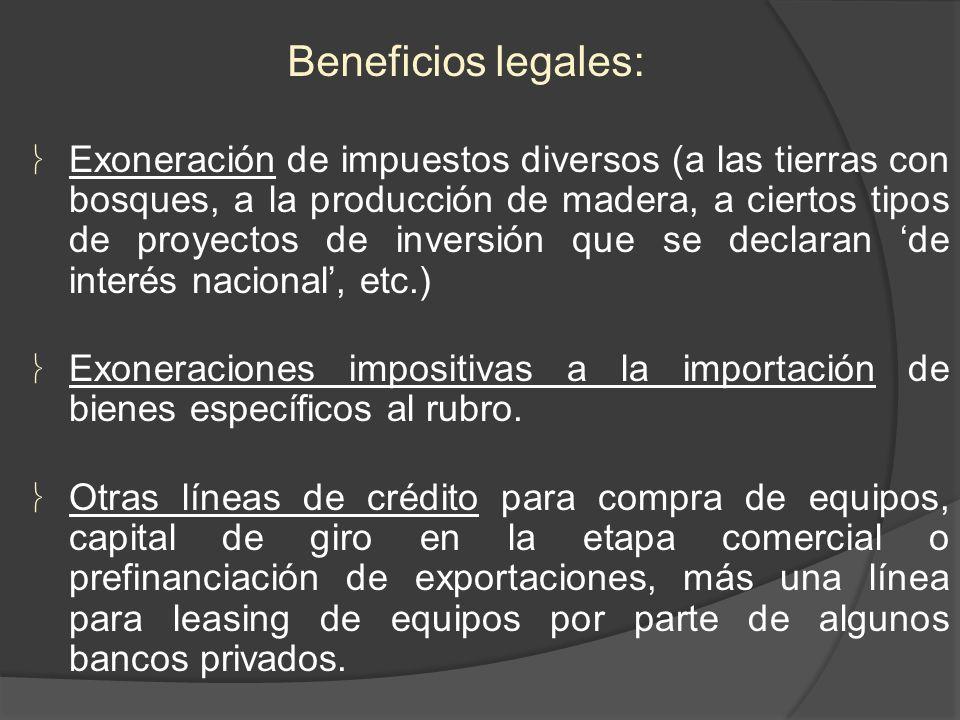 Exoneración de impuestos diversos (a las tierras con bosques, a la producción de madera, a ciertos tipos de proyectos de inversión que se declaran de