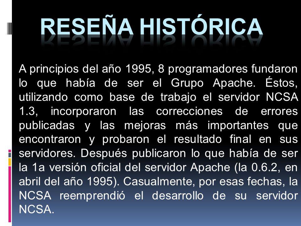 A principios del año 1995, 8 programadores fundaron lo que había de ser el Grupo Apache. Éstos, utilizando como base de trabajo el servidor NCSA 1.3,