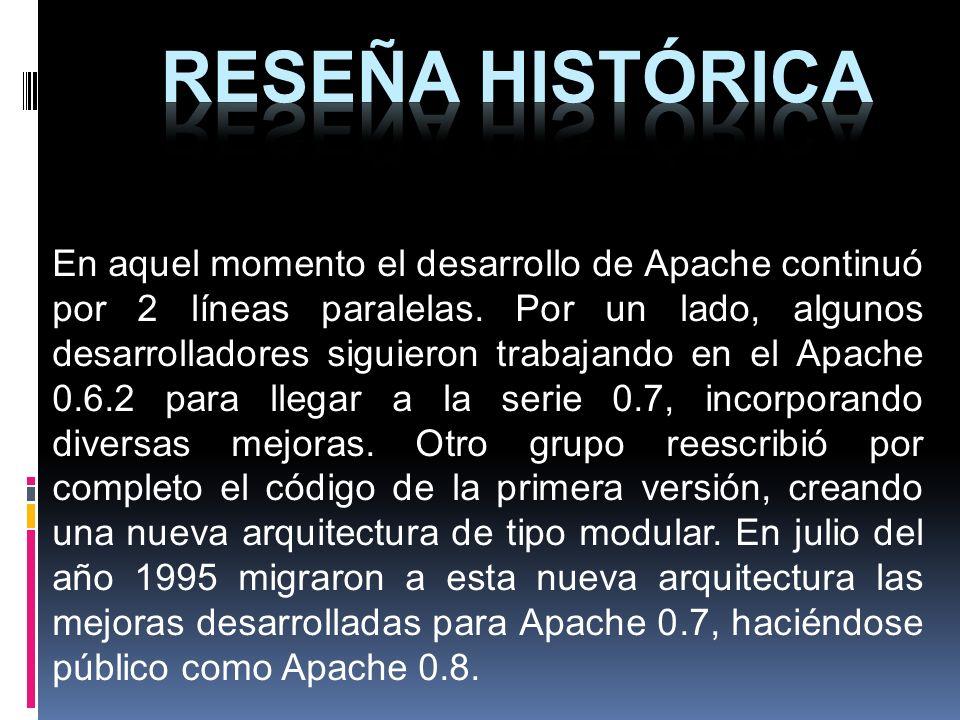En aquel momento el desarrollo de Apache continuó por 2 líneas paralelas. Por un lado, algunos desarrolladores siguieron trabajando en el Apache 0.6.2