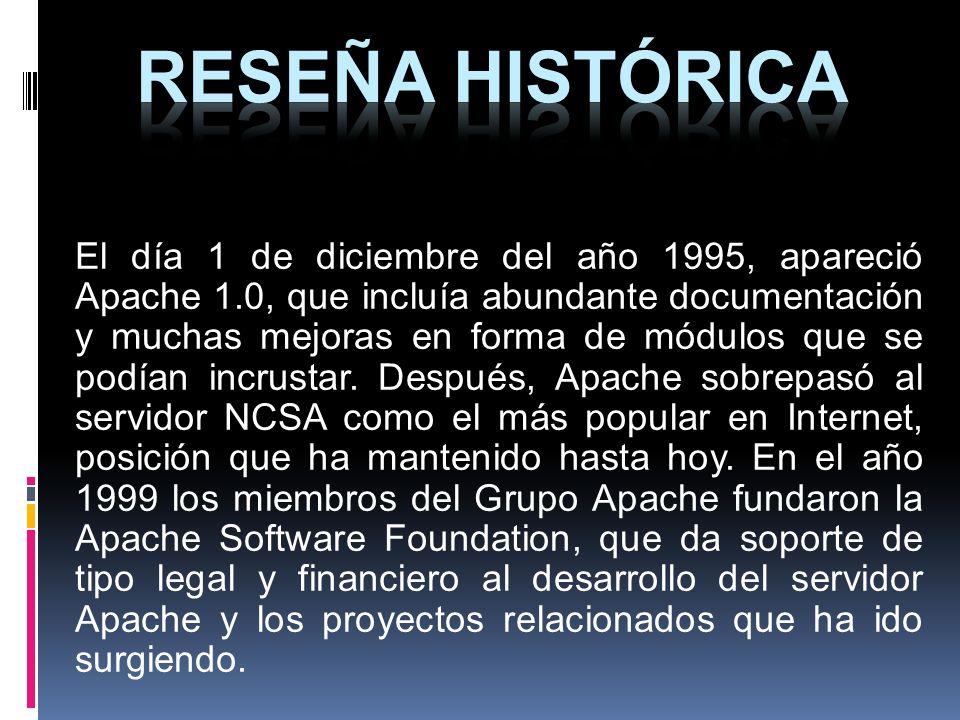 El día 1 de diciembre del año 1995, apareció Apache 1.0, que incluía abundante documentación y muchas mejoras en forma de módulos que se podían incrus
