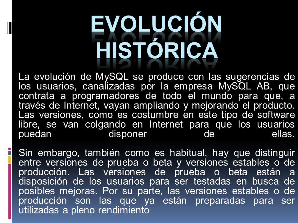 La evolución de MySQL se produce con las sugerencias de los usuarios, canalizadas por la empresa MySQL AB, que contrata a programadores de todo el mun