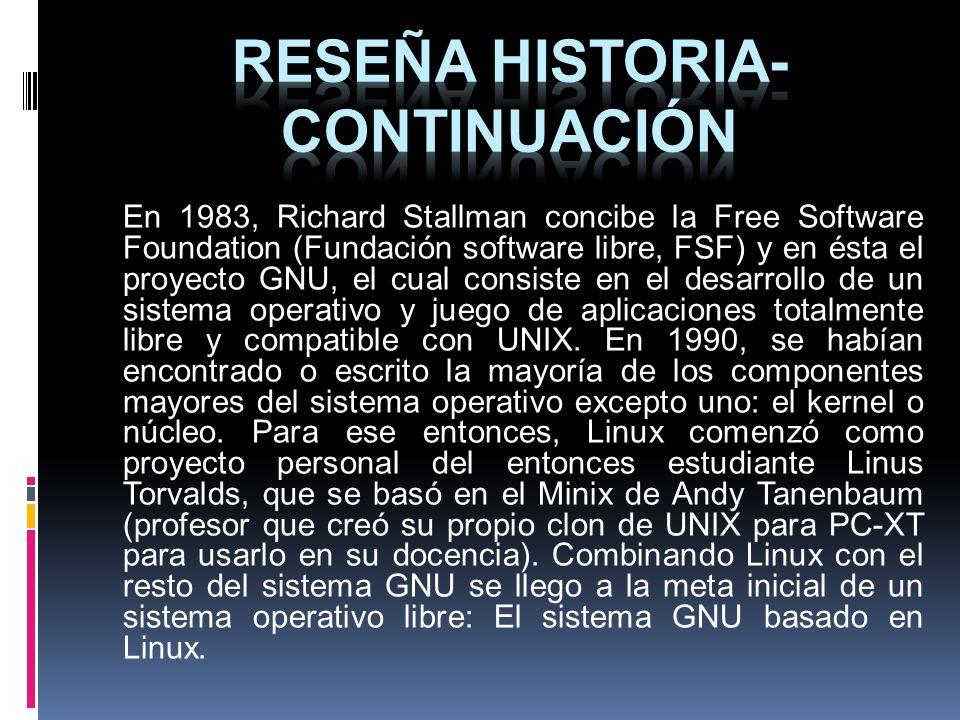 En 1983, Richard Stallman concibe la Free Software Foundation (Fundación software libre, FSF) y en ésta el proyecto GNU, el cual consiste en el desarr