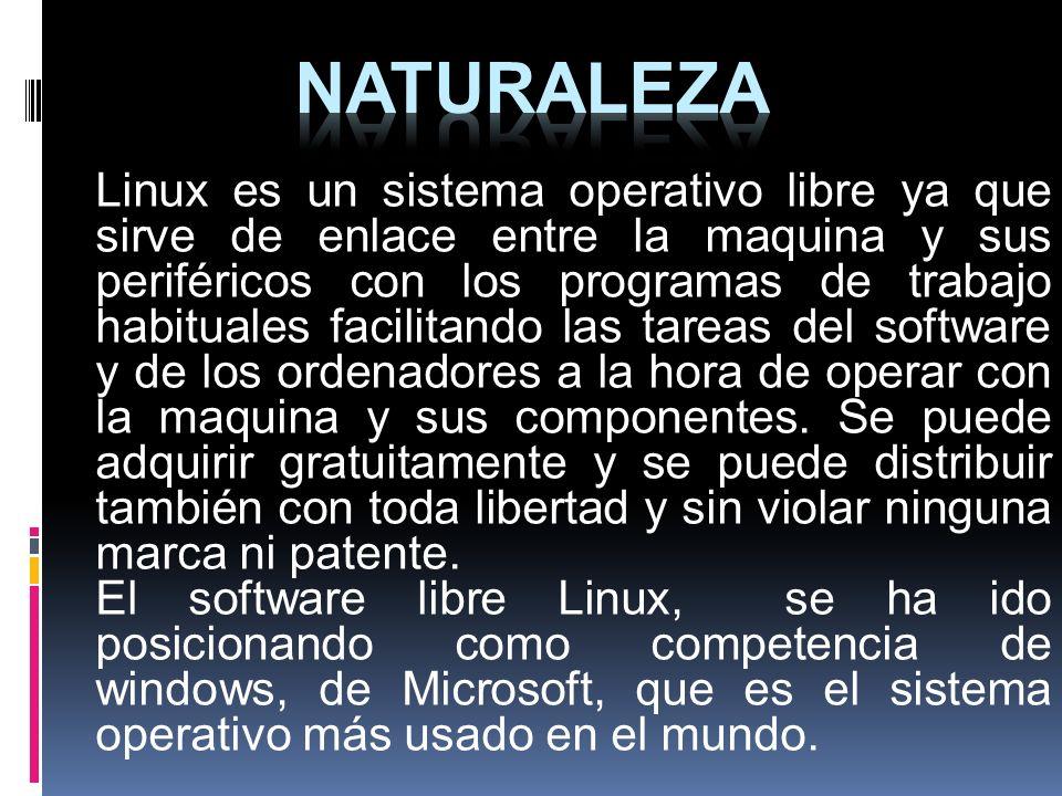 Linux es un sistema operativo libre ya que sirve de enlace entre la maquina y sus periféricos con los programas de trabajo habituales facilitando las