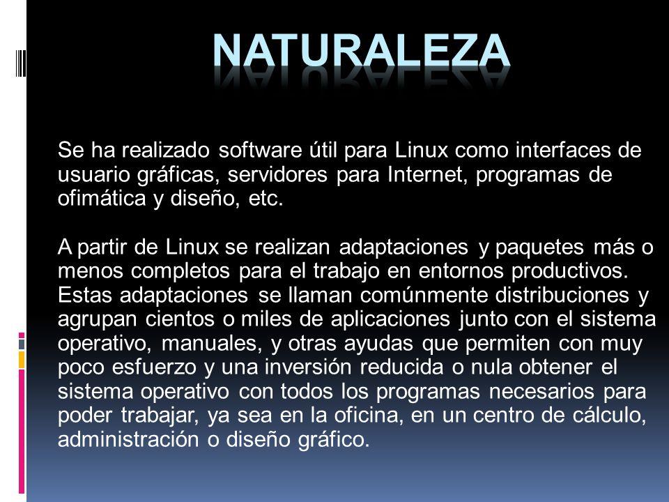 Se ha realizado software útil para Linux como interfaces de usuario gráficas, servidores para Internet, programas de ofimática y diseño, etc. A partir