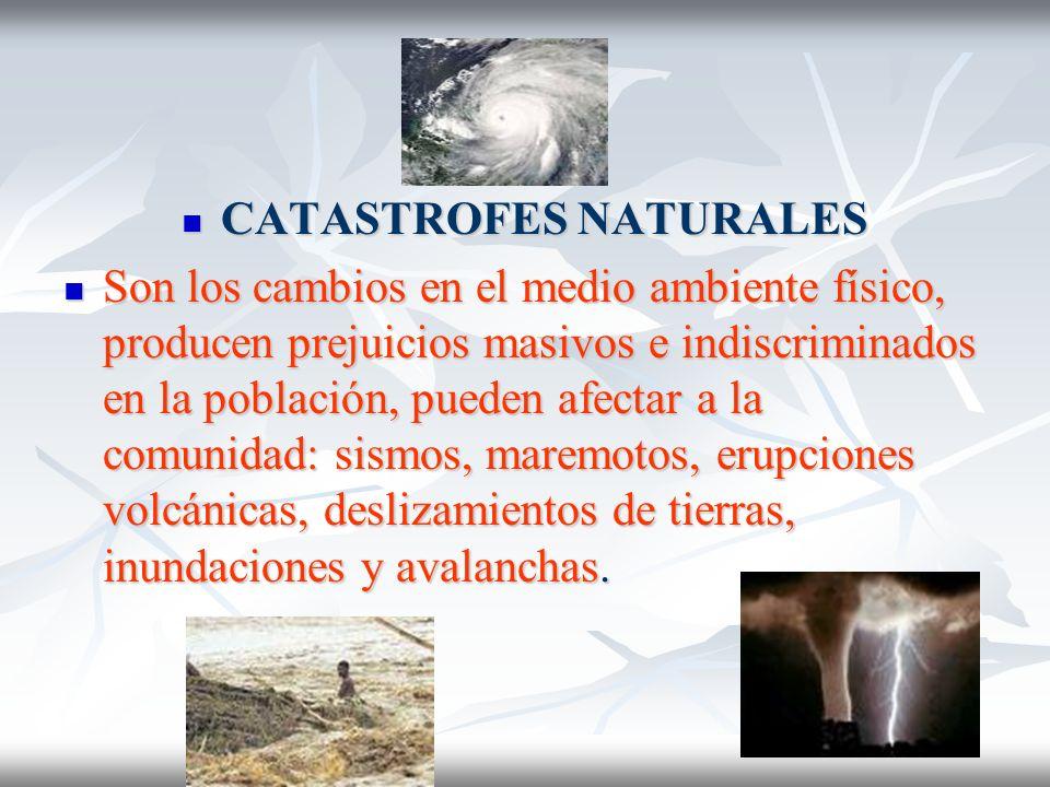 CATASTROFES NATURALES CATASTROFES NATURALES Son los cambios en el medio ambiente físico, producen prejuicios masivos e indiscriminados en la población
