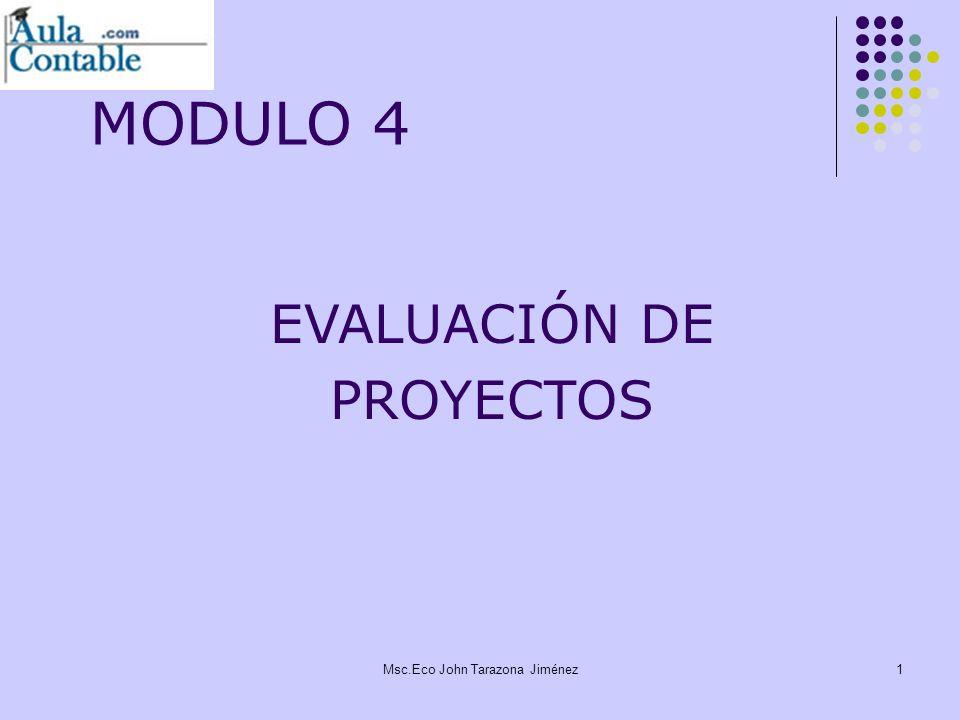 2 Evaluación Privada y Evaluación Social El Análisis Costo Beneficio Análisis de Sensibilidad Análisis de Sostenibilidad Comparación de las alternativas Evaluación de Proyectos Msc.Eco John Tarazona Jiménez