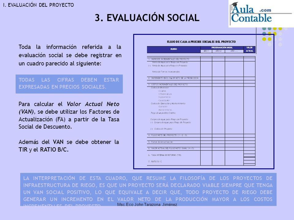 18 Toda la información referida a la evaluación social se debe registrar en un cuadro parecido al siguiente: Para calcular el Valor Actual Neto (VAN),