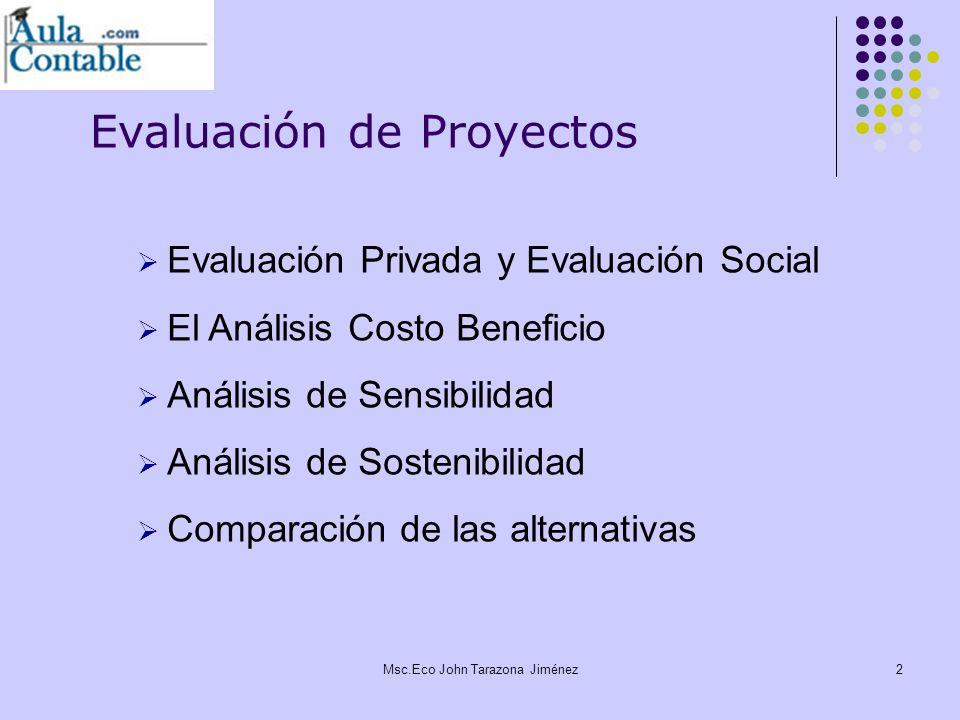 3 Los diferentes tipos de evaluación de proyectos Evaluación de proyectos Evaluación social Evaluación privada Evaluación Financiera Evaluación Económica Msc.Eco John Tarazona Jiménez