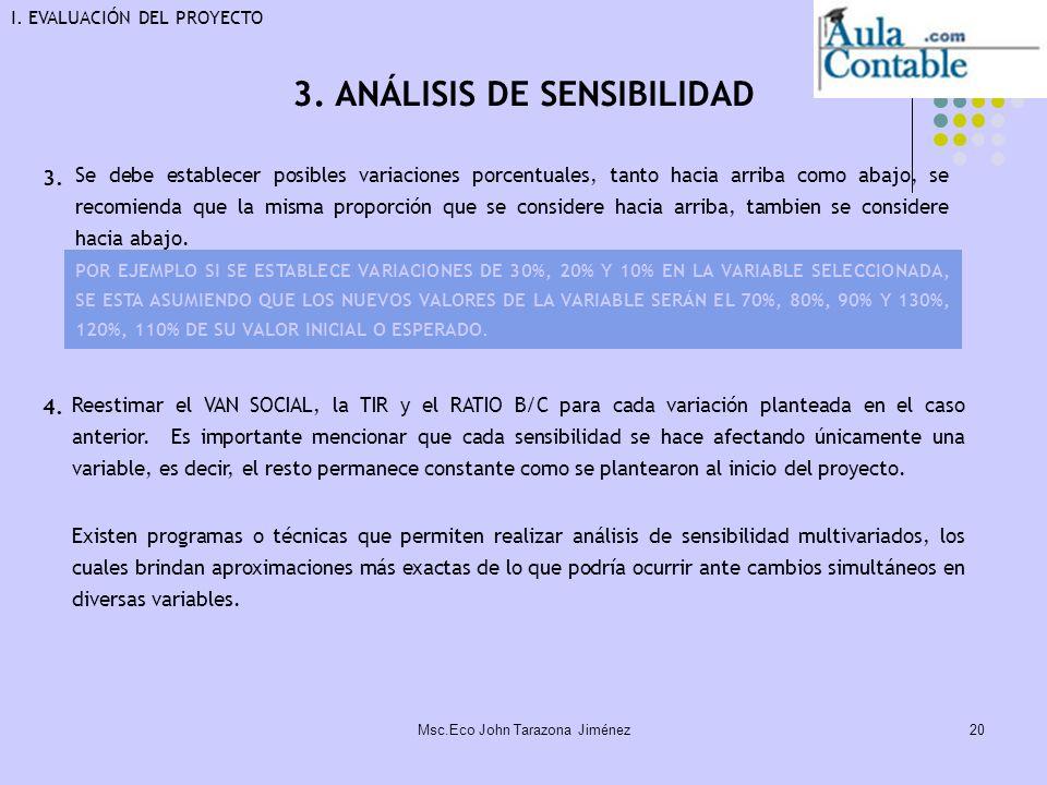 20 3. ANÁLISIS DE SENSIBILIDAD Se debe establecer posibles variaciones porcentuales, tanto hacia arriba como abajo, se recomienda que la misma proporc