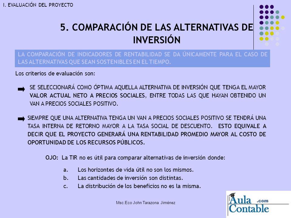 23 5. COMPARACIÓN DE LAS ALTERNATIVAS DE INVERSIÓN LA COMPARACIÓN DE INDICADORES DE RENTABILIDAD SE DA ÚNICAMENTE PARA EL CASO DE LAS ALTERNATIVAS QUE