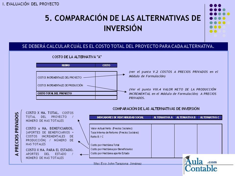 24 5. COMPARACIÓN DE LAS ALTERNATIVAS DE INVERSIÓN COSTO X HA. PARA EL ESTADO. APORTES DEL ESTADO / NÚMERO DE HAS TOTALES COSTO x HA. BENEFICIARIOS. (