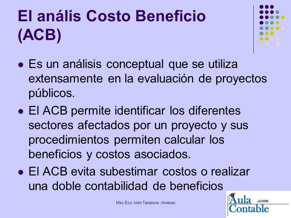 5 El anális Costo Beneficio (ACB) Es un análisis conceptual que se utiliza extensamente en la evaluación de proyectos públicos. El ACB permite identif