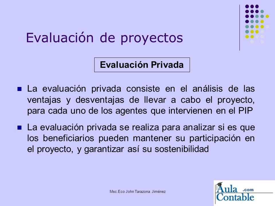 8 La evaluación privada consiste en el análisis de las ventajas y desventajas de llevar a cabo el proyecto, para cada uno de los agentes que intervien