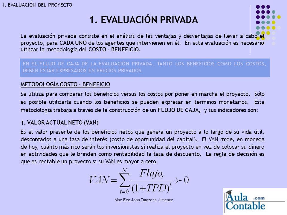 9 1. EVALUACIÓN PRIVADA I. EVALUACIÓN DEL PROYECTO METODOLOGÍA COSTO - BENEFICIO Se utiliza para comparar los beneficios versus los costos por poner e