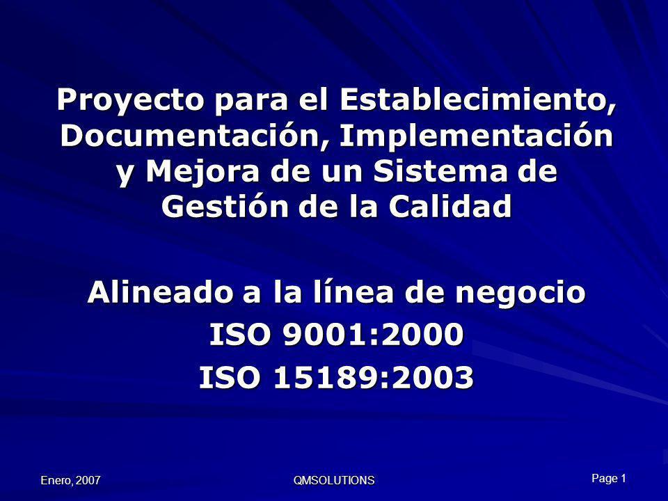 Enero, 2007 QMSOLUTIONS Proyecto para el Establecimiento, Documentación, Implementación y Mejora de un Sistema de Gestión de la Calidad Alineado a la