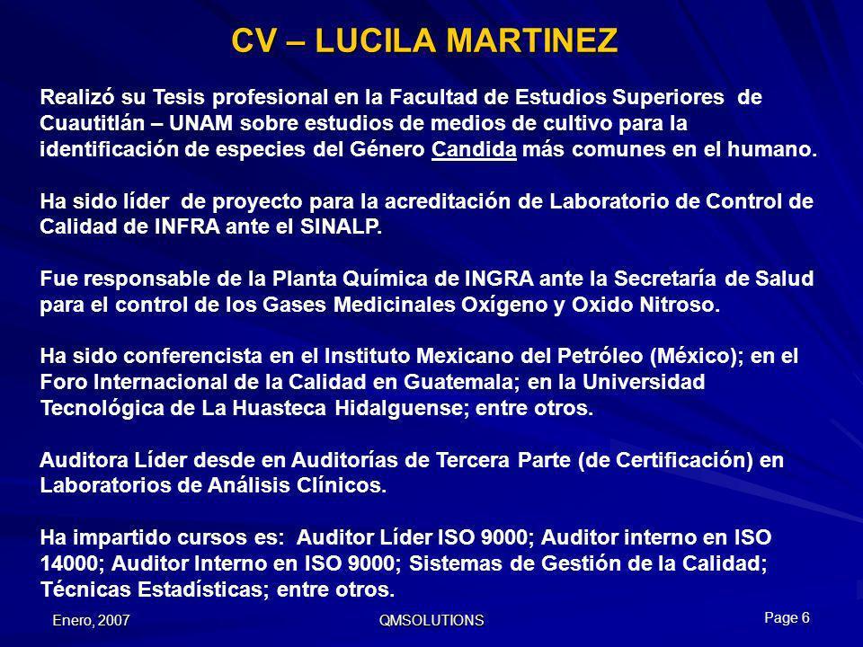 Enero, 2007 QMSOLUTIONS CV – LUCILA MARTINEZ Realizó su Tesis profesional en la Facultad de Estudios Superiores de Cuautitlán – UNAM sobre estudios de