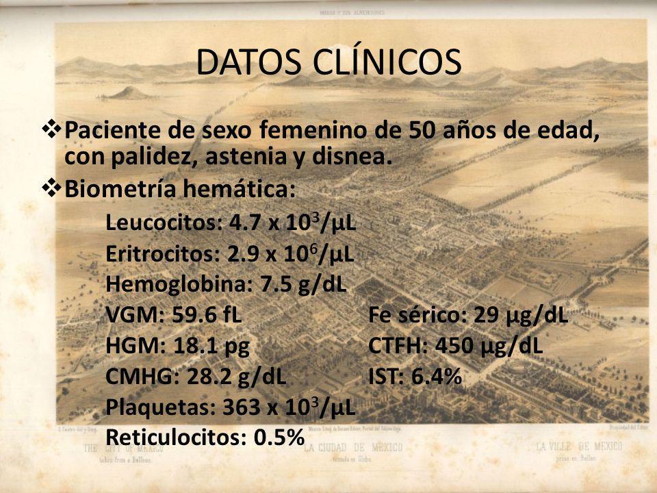 DATOS CLÍNICOS Paciente de sexo femenino de 50 años de edad, con palidez, astenia y disnea.