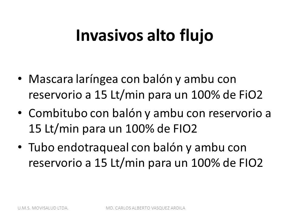 Invasivos alto flujo Mascara laríngea con balón y ambu con reservorio a 15 Lt/min para un 100% de FiO2 Combitubo con balón y ambu con reservorio a 15
