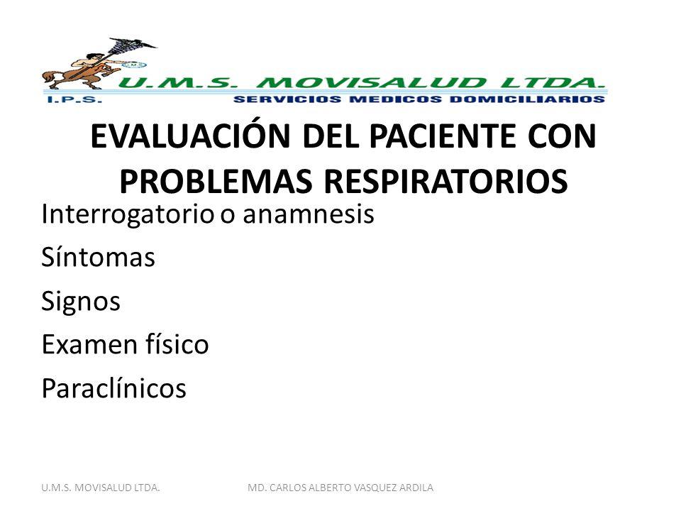 EVALUACIÓN DEL PACIENTE CON PROBLEMAS RESPIRATORIOS Interrogatorio o anamnesis Síntomas Signos Examen físico Paraclínicos U.M.S. MOVISALUD LTDA.MD. CA