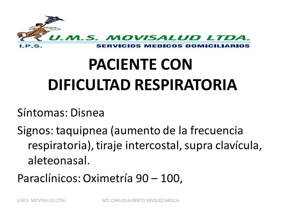 PACIENTE CON DIFICULTAD RESPIRATORIA Síntomas: Disnea Signos: taquipnea (aumento de la frecuencia respiratoria), tiraje intercostal, supra clavícula,