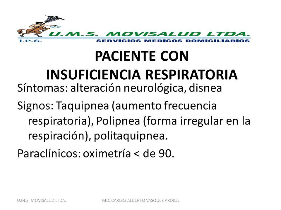 PACIENTE CON INSUFICIENCIA RESPIRATORIA Síntomas: alteración neurológica, disnea Signos: Taquipnea (aumento frecuencia respiratoria), Polipnea (forma