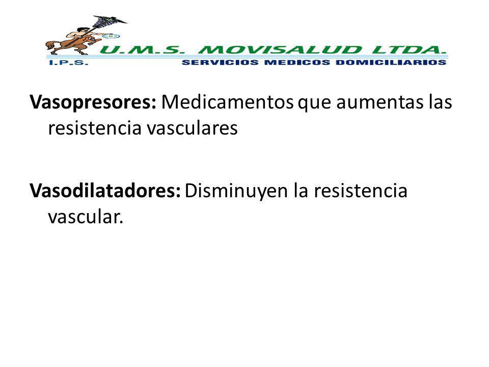 Vasopresores: Medicamentos que aumentas las resistencia vasculares Vasodilatadores: Disminuyen la resistencia vascular.