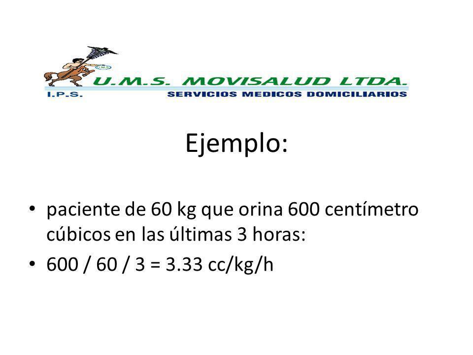 Ejemplo: paciente de 60 kg que orina 600 centímetro cúbicos en las últimas 3 horas: 600 / 60 / 3 = 3.33 cc/kg/h