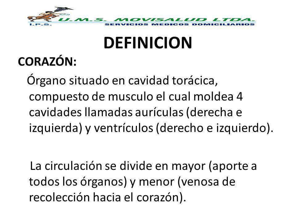 DEFINICION CORAZÓN: Órgano situado en cavidad torácica, compuesto de musculo el cual moldea 4 cavidades llamadas aurículas (derecha e izquierda) y ven