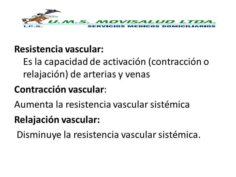 Resistencia vascular: Es la capacidad de activación (contracción o relajación) de arterias y venas Contracción vascular: Aumenta la resistencia vascul