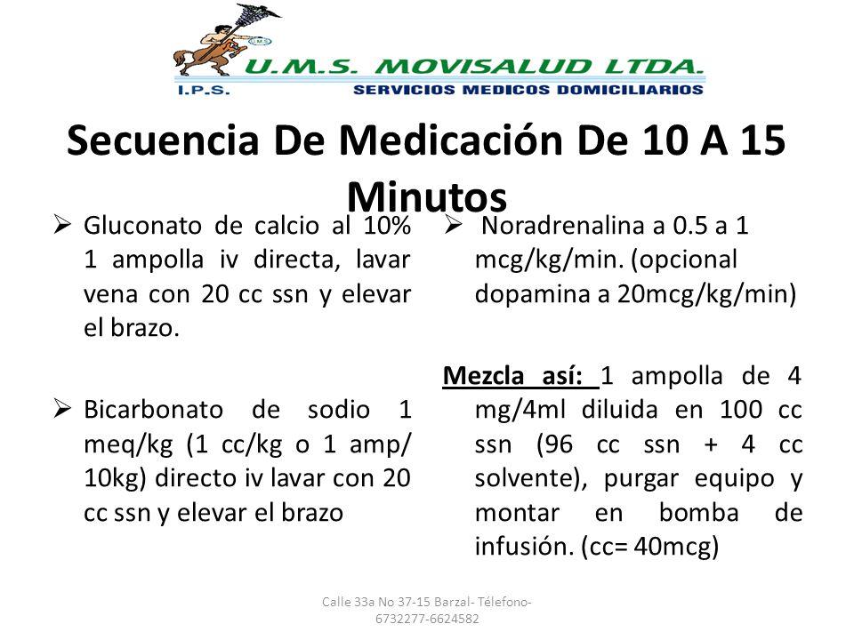 Secuencia De Medicación De 10 A 15 Minutos Gluconato de calcio al 10% 1 ampolla iv directa, lavar vena con 20 cc ssn y elevar el brazo. Bicarbonato de