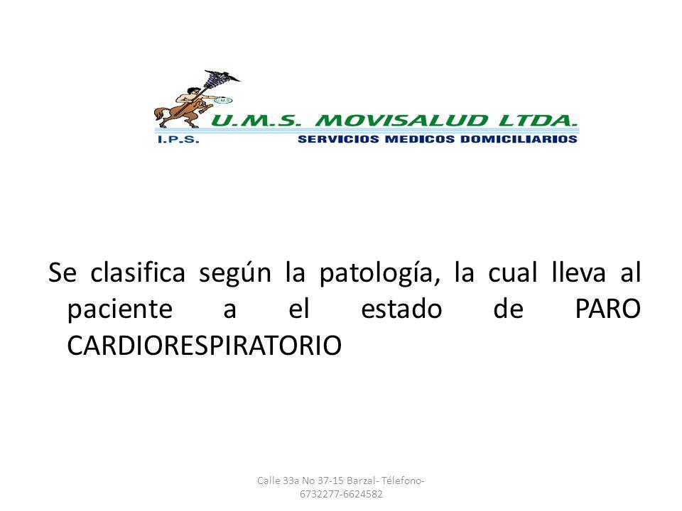 CLASIFICACION Se clasifica según la patología, la cual lleva al paciente a el estado de PARO CARDIORESPIRATORIO Calle 33a No 37-15 Barzal- Télefono- 6