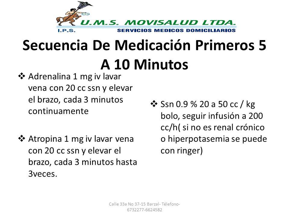 Secuencia De Medicación Primeros 5 A 10 Minutos Adrenalina 1 mg iv lavar vena con 20 cc ssn y elevar el brazo, cada 3 minutos continuamente Atropina 1